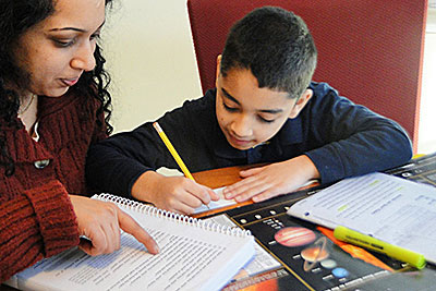 Parent teaches son homeschool science